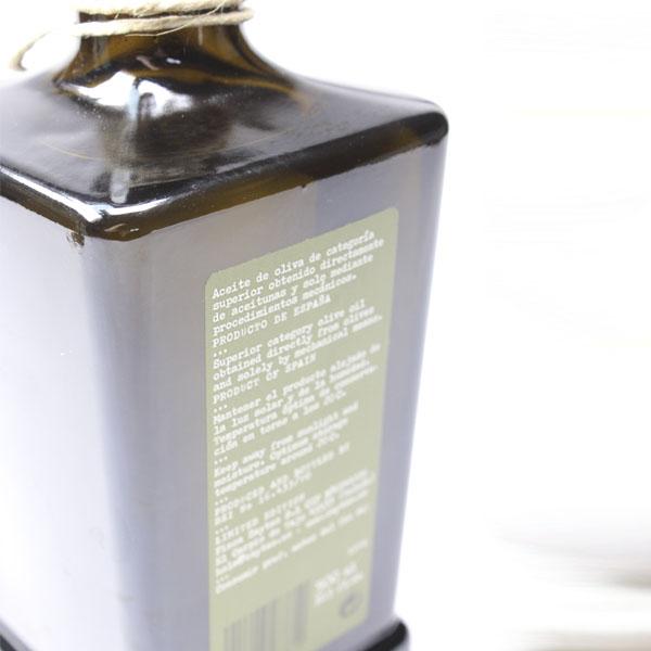 Etiqueta trasera de una botella de Aceite de Oliva Virgen Extra de Zaytas