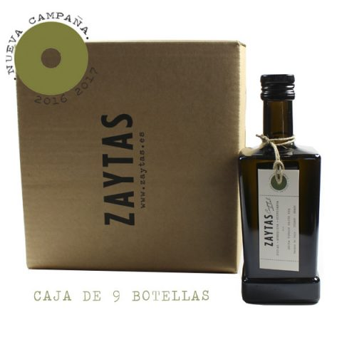 caja de 9 aove arbequina. aceite de oliva virgen extra de toledo