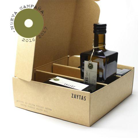 estuche aove arbequina. aceite de oliva virgen extra de toledo